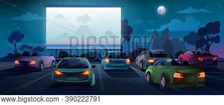 Car Cinema Or Drive In Movie Theater And Auto Theatre With Outdoor Screen, Cartoon Background. Car C