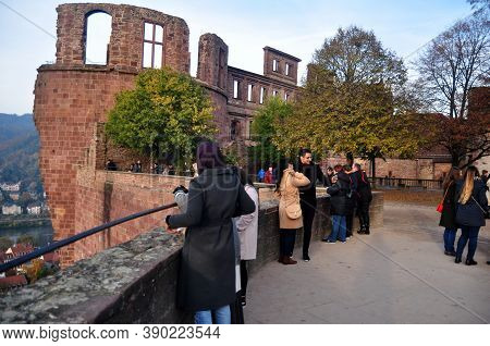 Inside And Structure Of Ancient Ruins Heidelberg Castle Or Heidelberger Schloss For German People An