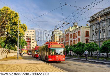 Belgrade / Serbia - June 23, 2020: Trolleybuses Of The Public Transport Company