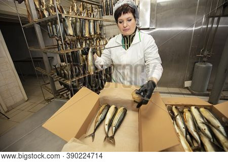 September 18, 2020. Belarus, Gamil. Fish Factory.fish Factory Worker With Smoked Fish. Fish Industry