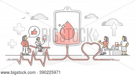 Blood Donation Volunteer And Patient Help Support Monocolor Outline Concept. Medicine Emergency Tran