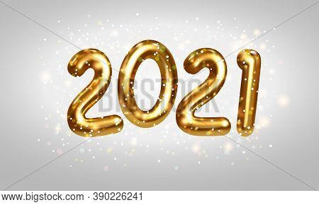 2021 Golden Numbers. Happy New Year 2021 And Christmas Greeting Card Design With Glittering Confetti