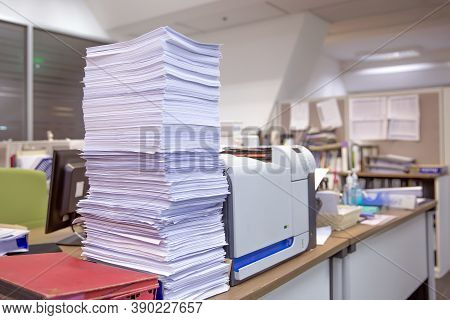 Pile Of A Lots Reuse Paper And Paperwork Report Or Printout Document On Desk Office Stack Up For Wor