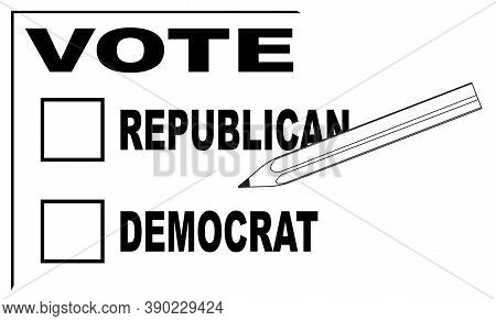 A Vote Slip For Both Republican And Democrat With Pencil