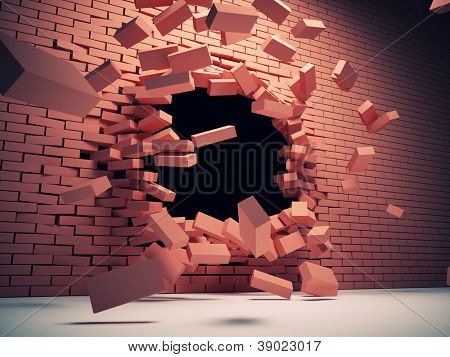 Destruction of brick wall