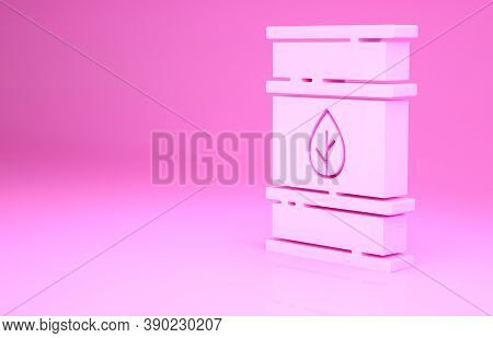 Pink Bio Fuel Barrel Icon Isolated On Pink Background. Eco Bio And Canister. Green Environment And R