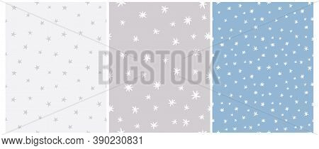 Simple Irregular Starry Seamless Vector Patterns. Simple Hand Drawn Stars Isolated On A Light Blue A