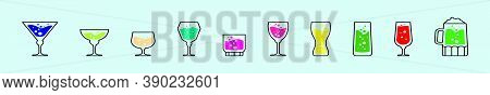 Set Of Spritz With Glasses Cartoon Icon Design Template With Various Models. Vector Illustration Iso