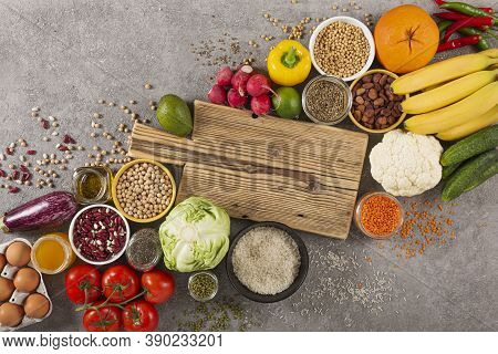 Balanced Vegetarian Diet Organic Food Background. Food For Healthy Nutrition, Superfoods, Vegetarian
