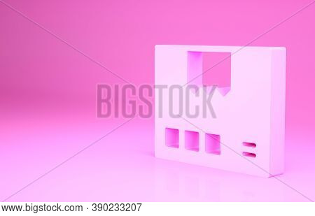 Pink Carton Cardboard Box Icon Isolated On Pink Background. Box, Package, Parcel Sign. Delivery And