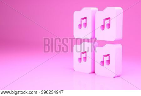 Pink Music File Document Icon Isolated On Pink Background. Waveform Audio File Format For Digital Au