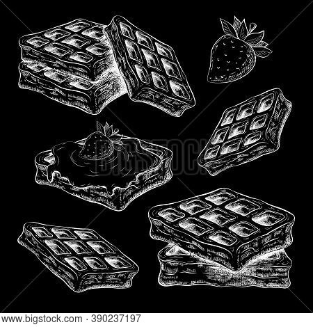 Chalk Drawn Cute Waffles Isolated On Black Chalkboard. Belgium Wafers Vector Sketch On Blackboard. S
