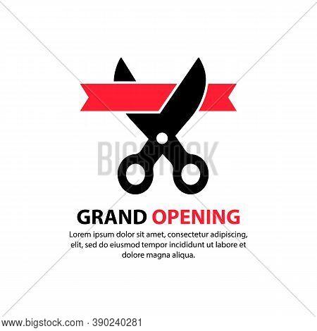 Grand Opening. Scissors Cut The Red Ribbon. Inauguration Icon. Concept Of Invite Congratulation For