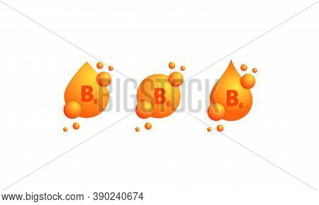 Vitamin B6 Icon Set. Shining Golden Drop Of Substance. Beauty Treatment Nutrition Skin Care Design.