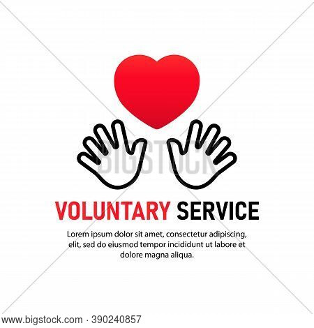 Voluntary Service Icon. Two Hand Keeping Heart. Charity Concept. Volunteers, Support, Hand, Love, Ch