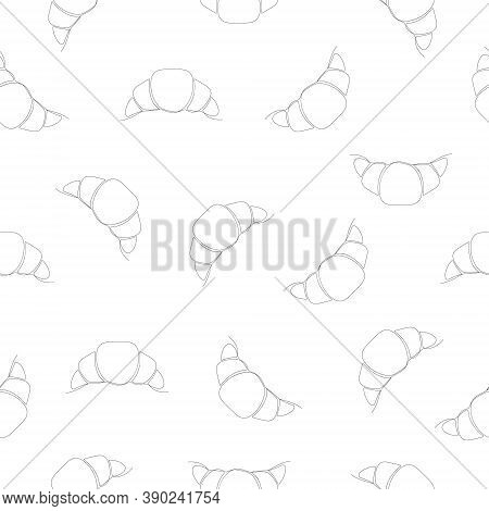 Chocolate Line Croissant Seamless Pattern. White Background With Linear Croissant Icon. Vector Illus