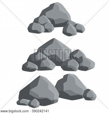 Set Of Gray Granite Stones Of Different Shapes. Flat Illustration.