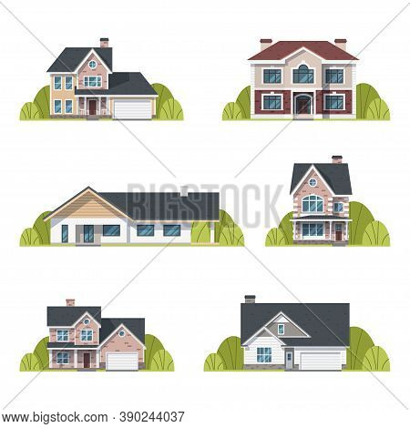 Houses Set. Suburban Houses Exterior Flat Design Front View With Roof And Some Trees. Collection Of