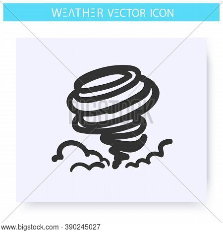 Hurricane Icon. Hand Drawn Sketch. Typhoon. Spiral Storm. Windstorm. Tornado. Natural Disaster. Weat