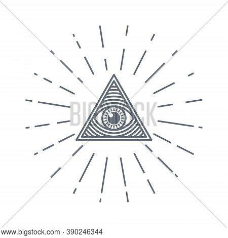 Human World Eye With Rays. Illuminati Logo. World Order Symbol All-seeing Eye Of Providence. Masonic