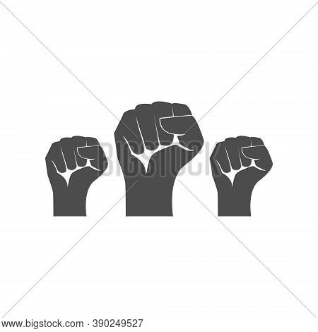 Protest Arm Set Symbol. Fist Male Hand Up Vector Isolated On White. Power Or Victory Sign. Win And T