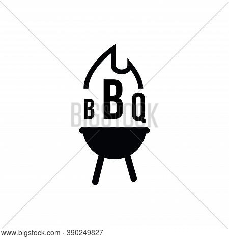 Barbecue Restaurant - Logo Icon Of Barbecue, Grill And Bar With Fire, Bbq Text. Bbq Logo Template. V