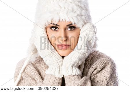 Beautiful Woman In Warm Clothing Closeup Portrait, Isolated On White Background