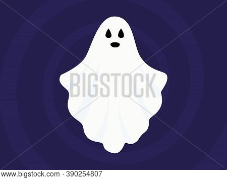 Vector Halloween Illustration Of White Flying Ghost With Eyes, Mouth On Dark Blue Gradient Backgroun