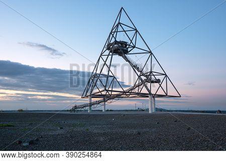 Bottrop, Germany - August 29, 2020: Tetraeder, Landmark Of Ruhr Metropolis On Top Of Beckstrasse Tip