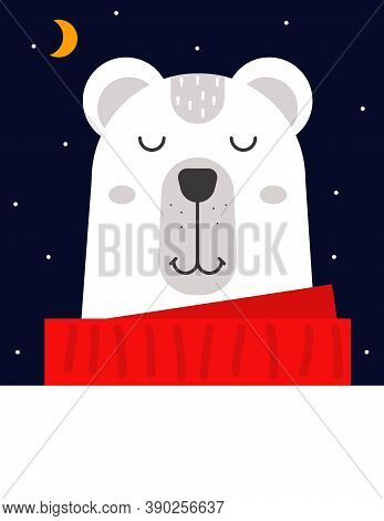 Polar Bear. Cute Animal Sleeping At Night. Winter Kids Greeting Card. Vector Illustration