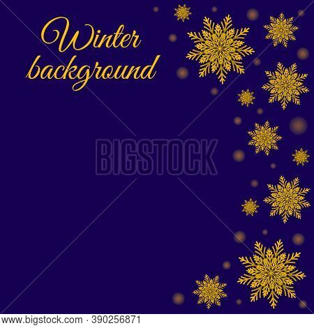Vector Winter Background. With Glowing Dots And Golden Snowflakes On Blue. Celebrations Greeting Car