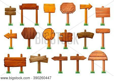 Wooden Signs Standing On Pillars At Green Grass Isolated Set. Vector Wood Signboards, Arrows Directi