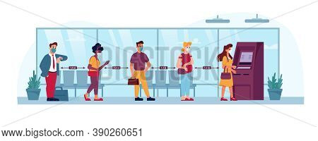 Atm Queue, People In Social Distance Line To Bank, Vector Flat. Coronavirus Covid Social Distance, P