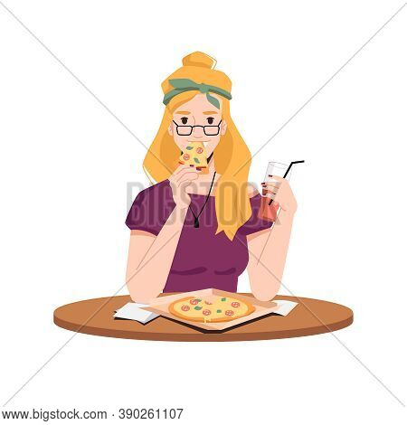 Happy Blonde Woman Eats Pizza And Drink Juice From Glass With Straw Isolated Flat Cartoon Vector. Gi