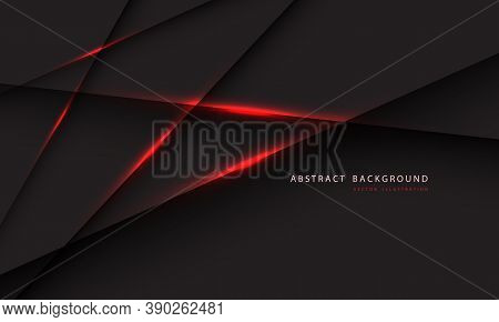 Abstract Red Light Line On Dark Grey Polygon Geometric With Simple Text On Blank Space Design Modern