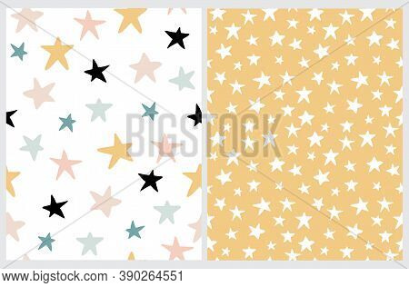 Simple Irregular Starry Seamless Vector Patterns. Simple Hand Drawn Stars Isolated On A White And Pa