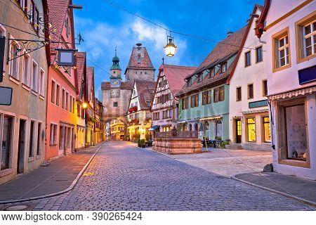 Rothenburg Ob Der Tauber. German Street Architecture Of Medieval German Town Of Rothenburg Ob Der Ta