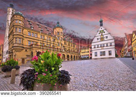 Rothenburg Ob Der Tauber. Main Square (marktplatz Or Market Square) Of Medieval German Town Of Rothe