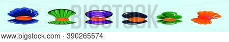 Set Of Seafood Mussel, Ocean Delicacy Food Cartoon Icon Design Template With Various Models. Vector