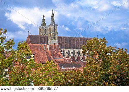 Rothenburg Ob Der Tauber. Cathedral In Historic Town Of Rothenburg Ob Der Tauber View, Romantic Road