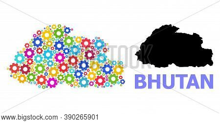 Vector Mosaic Map Of Bhutan Done For Engineering. Mosaic Map Of Bhutan Is Designed With Randomized C