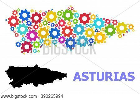 Vector Mosaic Map Of Asturias Province Created For Industrial Apps. Mosaic Map Of Asturias Province