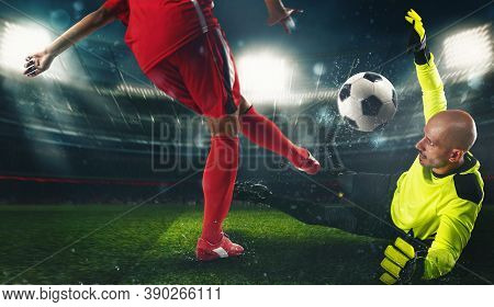 Soccer Goalkeeper, In Fluorescent Uniform, Countering The Attacker In Red Uniform