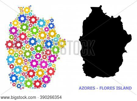Vector Mosaic Map Of Azores - Flores Island Constructed For Workshops. Mosaic Map Of Azores - Flores