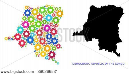 Vector Mosaic Map Of Democratic Republic Of The Congo Done For Mechanics. Mosaic Map Of Democratic R