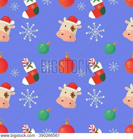 2021 New Year Seamless Pattern With Christmas Socks, Baubles, Snowflakes And A Bull Wearing Santas H
