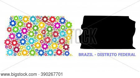 Vector Composition Map Of Brazil - Distrito Federal Done For Engineering. Mosaic Map Of Brazil - Dis