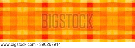 Red Tartan Background. Watercolor Picnic Textile. Wool Traditional Stripes For Fabric Design. Seamle
