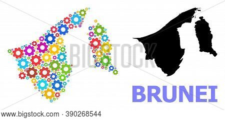 Vector Mosaic Map Of Brunei Constructed For Mechanics. Mosaic Map Of Brunei Is Constructed With Rand
