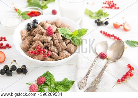 Healthy Breakfast Cereal With Fruit On The Summer Table With A White Tablecloth Healthy Tasty Breakf